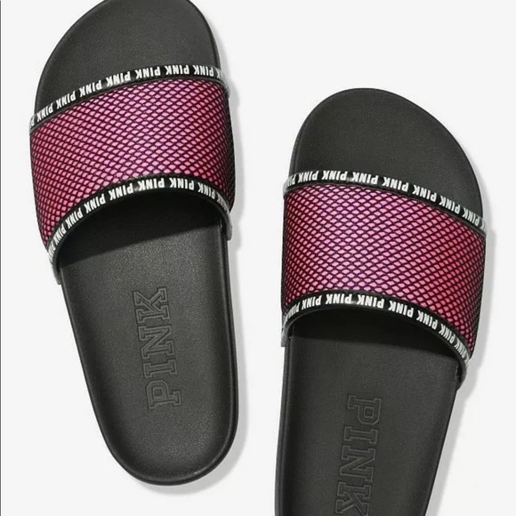 Victorias Secret Pink Slides Slippers Navy